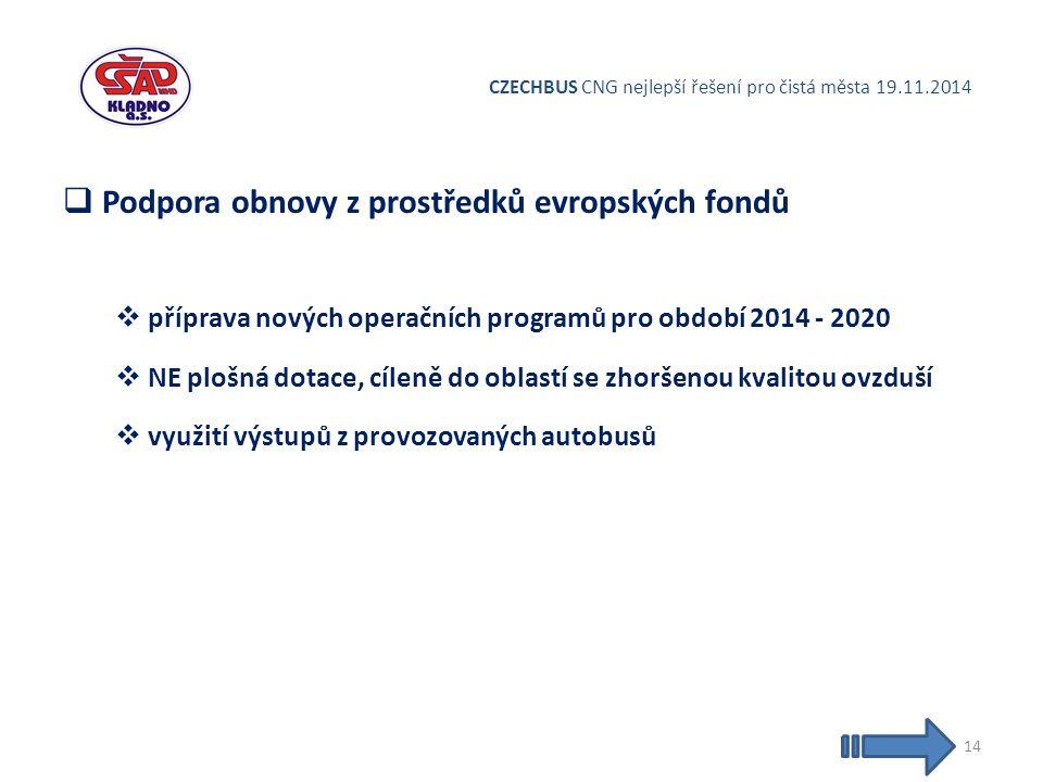 CZECHBUS CNG nejlepší řešení pro čistá města 19.11.2014  Podpora obnovy z prostředků evropských fondů  příprava nových operačních programů pro období 2014 - 2020  NE plošná dotace, cíleně do oblastí se zhoršenou kvalitou ovzduší  využití výstupů z provozovaných autobusů 14