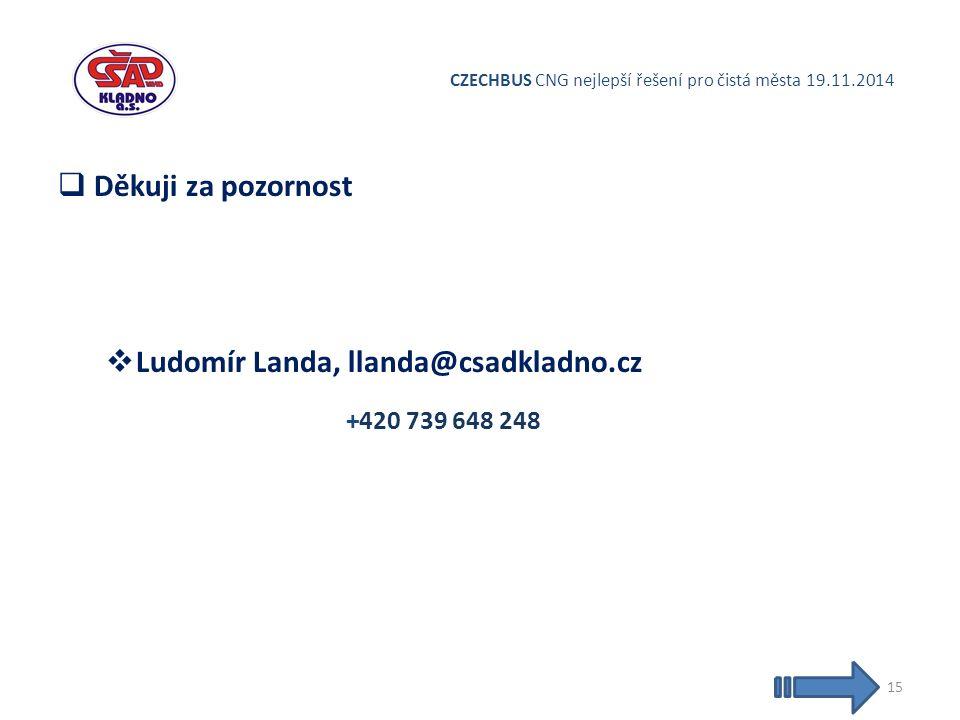 CZECHBUS CNG nejlepší řešení pro čistá města 19.11.2014  Děkuji za pozornost  Ludomír Landa, llanda@csadkladno.cz +420 739 648 248 15