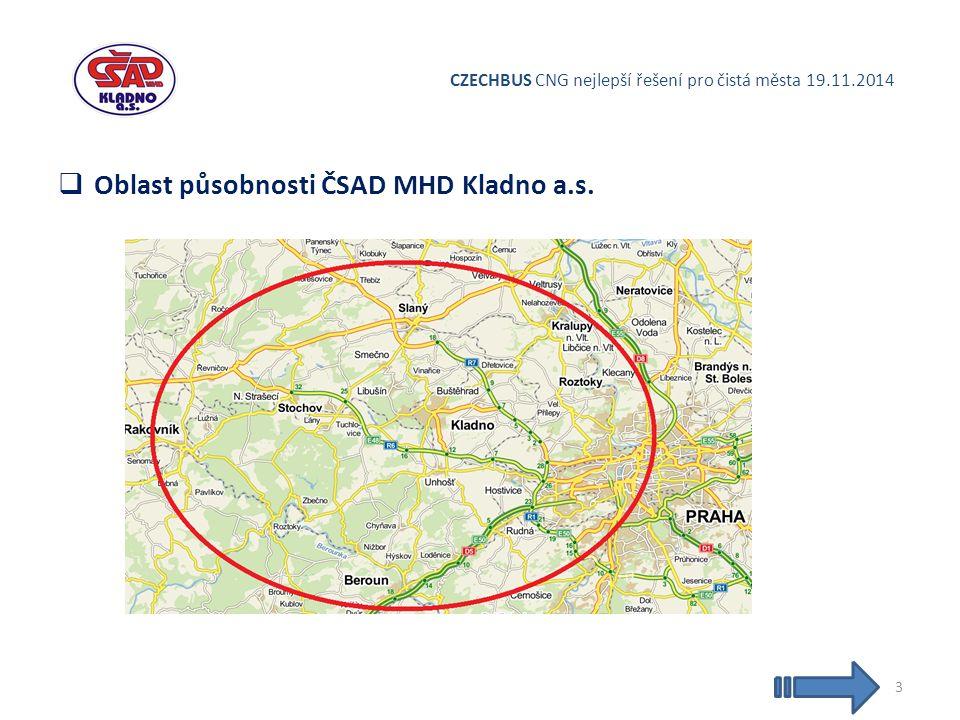 CZECHBUS CNG nejlepší řešení pro čistá města 19.11.2014  Oblast působnosti ČSAD MHD Kladno a.s. 3