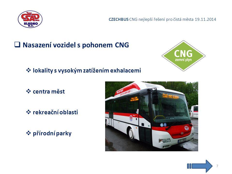 CZECHBUS CNG nejlepší řešení pro čistá města 19.11.2014  Nasazení vozidel s pohonem CNG  lokality s vysokým zatížením exhalacemi  centra měst  rekreační oblasti  přírodní parky 7