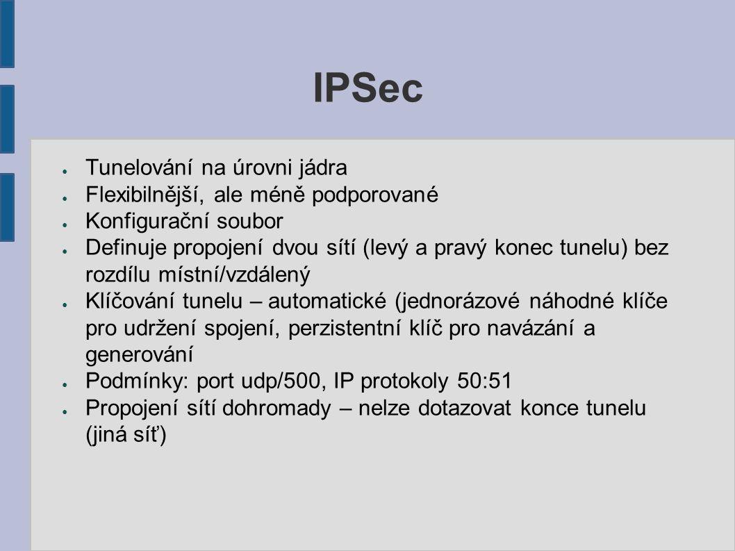 IPSec ● Tunelování na úrovni jádra ● Flexibilnější, ale méně podporované ● Konfigurační soubor ● Definuje propojení dvou sítí (levý a pravý konec tune