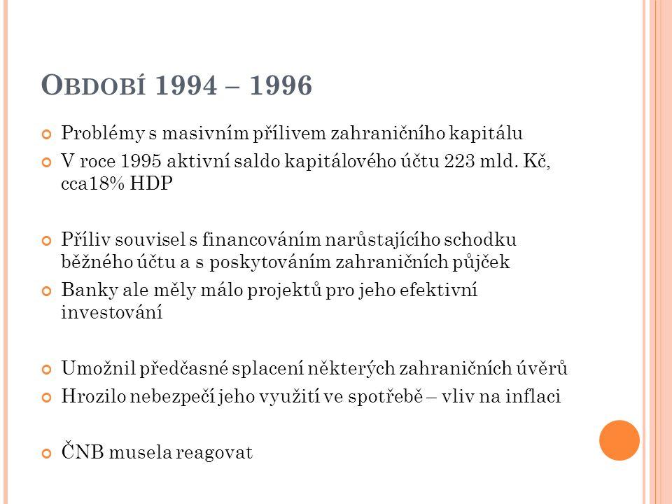 O BDOBÍ 1994 – 1996 Problémy s masivním přílivem zahraničního kapitálu V roce 1995 aktivní saldo kapitálového účtu 223 mld. Kč, cca18% HDP Příliv souv