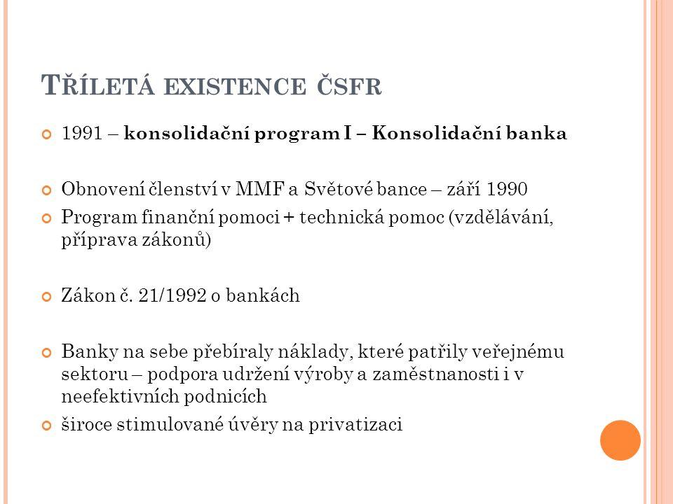 T ŘÍLETÁ EXISTENCE ČSFR 1991 – konsolidační program I – Konsolidační banka Obnovení členství v MMF a Světové bance – září 1990 Program finanční pomoci + technická pomoc (vzdělávání, příprava zákonů) Zákon č.