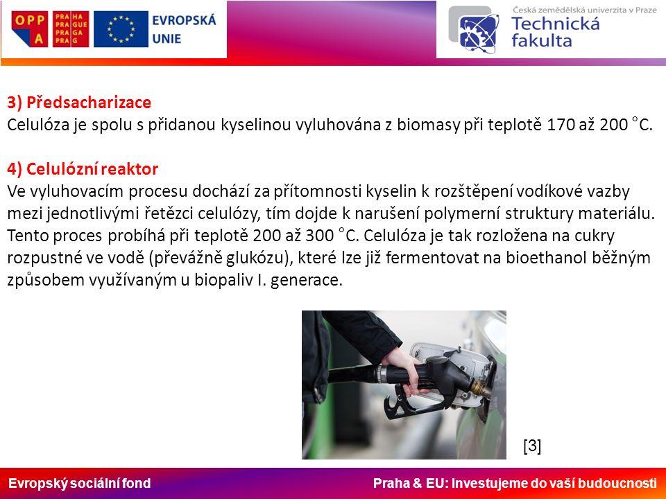 Evropský sociální fond Praha & EU: Investujeme do vaší budoucnosti 3) Předsacharizace Celulóza je spolu s přidanou kyselinou vyluhována z biomasy při teplotě 170 až 200 °C.