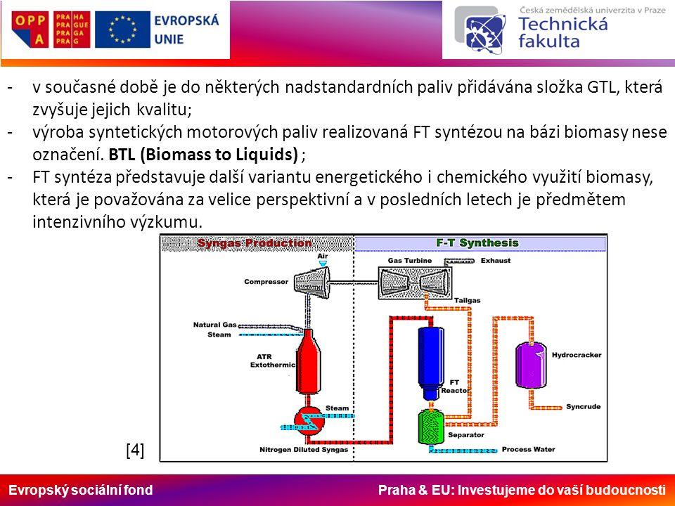 Evropský sociální fond Praha & EU: Investujeme do vaší budoucnosti -v současné době je do některých nadstandardních paliv přidávána složka GTL, která zvyšuje jejich kvalitu; -výroba syntetických motorových paliv realizovaná FT syntézou na bázi biomasy nese označení.