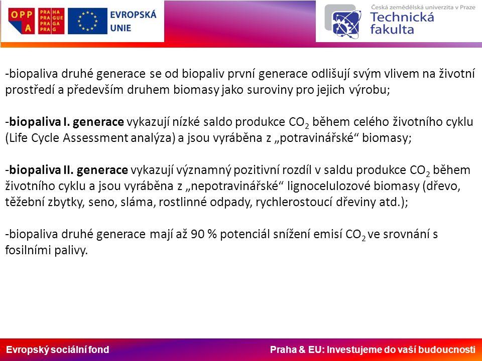 Evropský sociální fond Praha & EU: Investujeme do vaší budoucnosti -biopaliva druhé generace se od biopaliv první generace odlišují svým vlivem na životní prostředí a především druhem biomasy jako suroviny pro jejich výrobu; -biopaliva I.