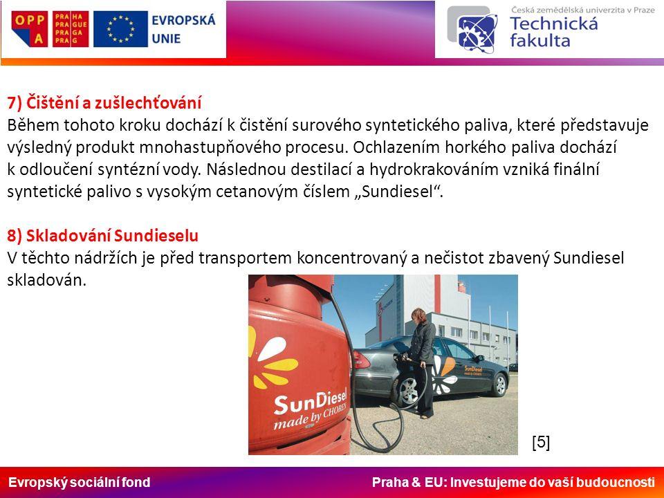 Evropský sociální fond Praha & EU: Investujeme do vaší budoucnosti 7) Čištění a zušlechťování Během tohoto kroku dochází k čistění surového syntetického paliva, které představuje výsledný produkt mnohastupňového procesu.