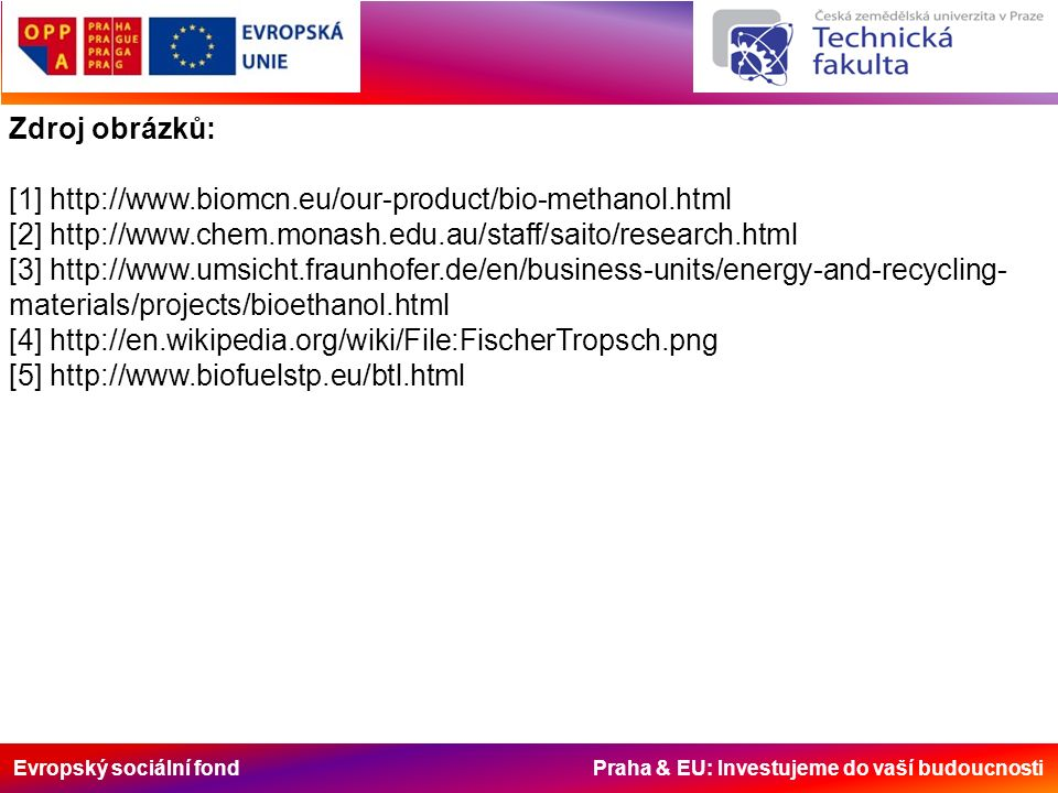 Evropský sociální fond Praha & EU: Investujeme do vaší budoucnosti Zdroj obrázků: [1] http://www.biomcn.eu/our-product/bio-methanol.html [2] http://www.chem.monash.edu.au/staff/saito/research.html [3] http://www.umsicht.fraunhofer.de/en/business-units/energy-and-recycling- materials/projects/bioethanol.html [4] http://en.wikipedia.org/wiki/File:FischerTropsch.png [5] http://www.biofuelstp.eu/btl.html