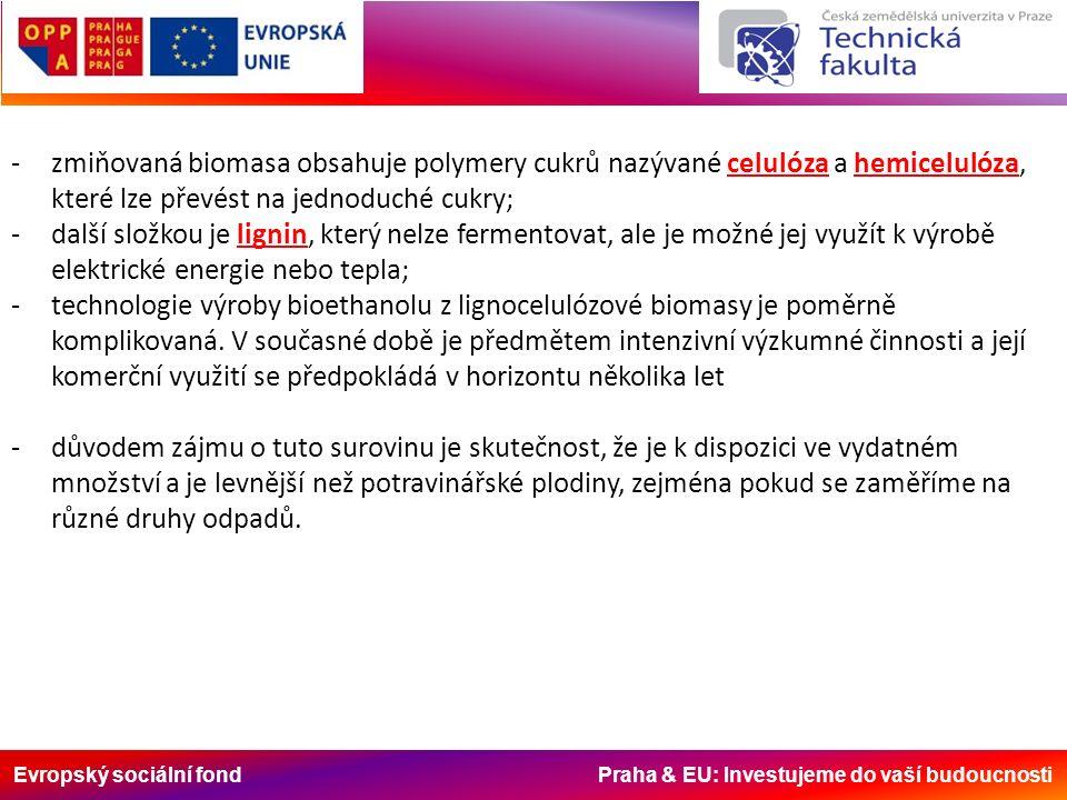 Evropský sociální fond Praha & EU: Investujeme do vaší budoucnosti -zmiňovaná biomasa obsahuje polymery cukrů nazývané celulóza a hemicelulóza, které lze převést na jednoduché cukry; -další složkou je lignin, který nelze fermentovat, ale je možné jej využít k výrobě elektrické energie nebo tepla; -technologie výroby bioethanolu z lignocelulózové biomasy je poměrně komplikovaná.