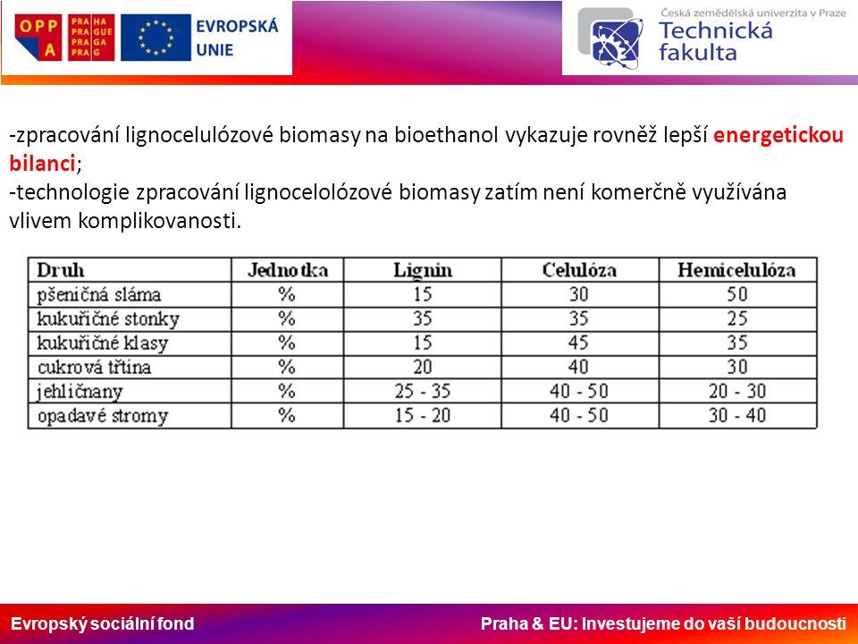 Evropský sociální fond Praha & EU: Investujeme do vaší budoucnosti -zpracování lignocelulózové biomasy na bioethanol vykazuje rovněž lepší energetickou bilanci; -technologie zpracování lignocelolózové biomasy zatím není komerčně využívána vlivem komplikovanosti.