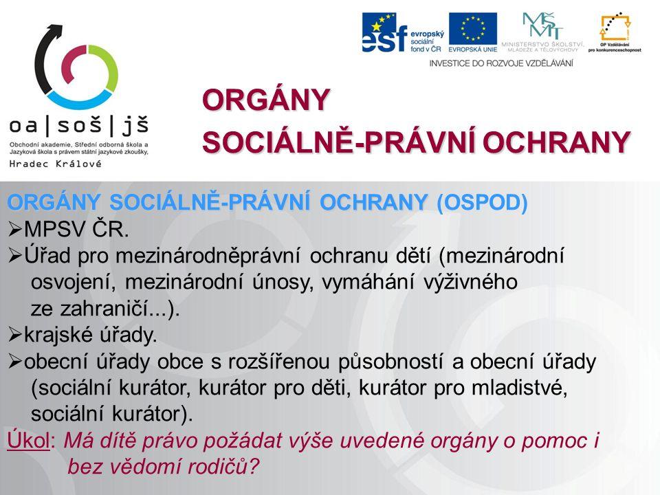 ORGÁNY SOCIÁLNĚ-PRÁVNÍ OCHRANY ORGÁNY SOCIÁLNĚ-PRÁVNÍ OCHRANY ORGÁNY SOCIÁLNĚ-PRÁVNÍ OCHRANY (OSPOD)  MPSV ČR.