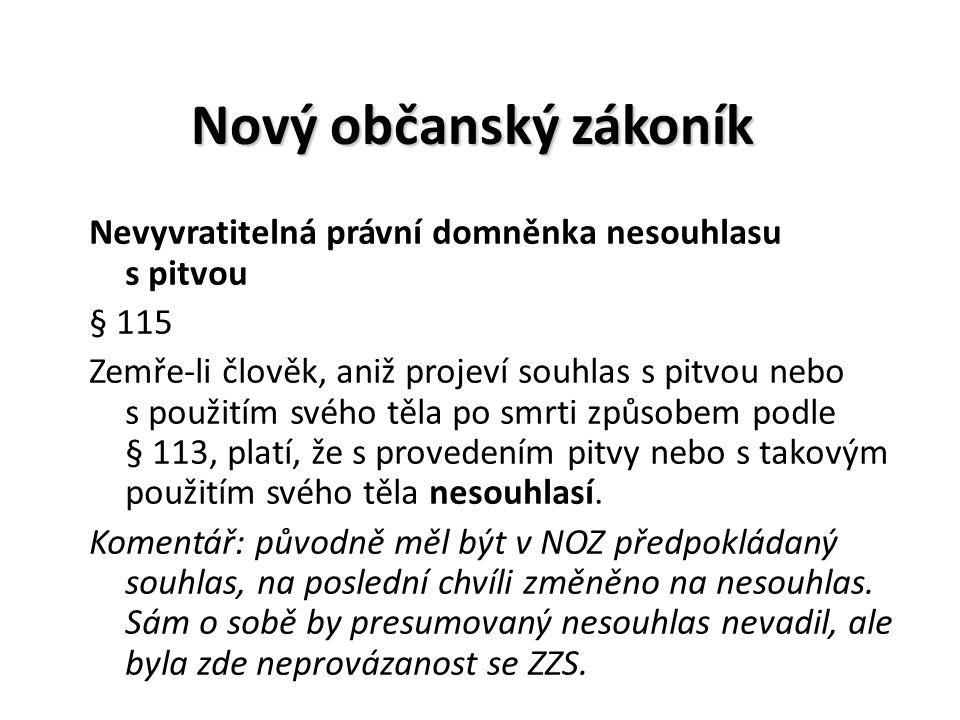 Nový občanský zákoník Nevyvratitelná právní domněnka nesouhlasu s pitvou § 115 Zemře-li člověk, aniž projeví souhlas s pitvou nebo s použitím svého tě