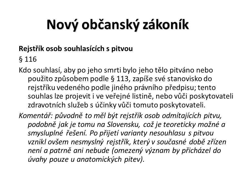 Nový občanský zákoník Rejstřík osob souhlasících s pitvou § 116 Kdo souhlasí, aby po jeho smrti bylo jeho tělo pitváno nebo použito způsobem podle § 1
