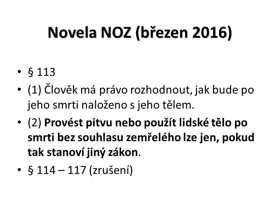 Novela NOZ (březen 2016) § 113 (1) Člověk má právo rozhodnout, jak bude po jeho smrti naloženo s jeho tělem.