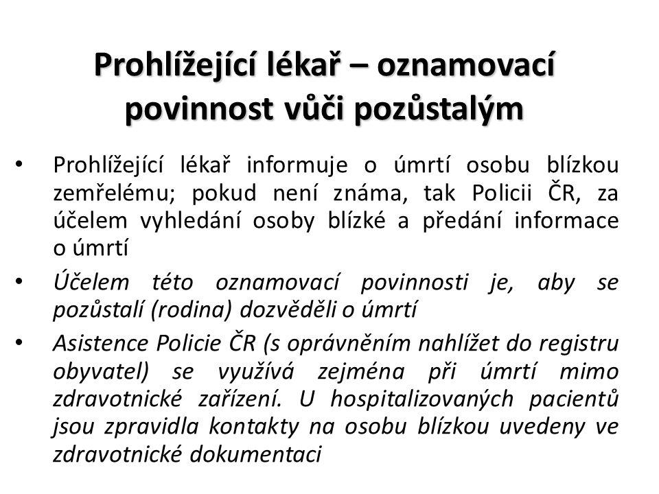 Prohlížející lékař – oznamovací povinnost vůči pozůstalým Prohlížející lékař informuje o úmrtí osobu blízkou zemřelému; pokud není známa, tak Policii ČR, za účelem vyhledání osoby blízké a předání informace o úmrtí Účelem této oznamovací povinnosti je, aby se pozůstalí (rodina) dozvěděli o úmrtí Asistence Policie ČR (s oprávněním nahlížet do registru obyvatel) se využívá zejména při úmrtí mimo zdravotnické zařízení.