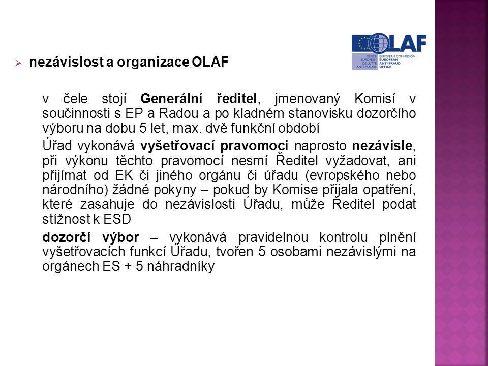  nezávislost a organizace OLAF v čele stojí Generální ředitel, jmenovaný Komisí v součinnosti s EP a Radou a po kladném stanovisku dozorčího výboru na dobu 5 let, max.