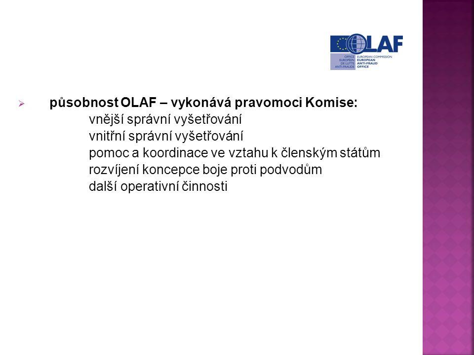  působnost OLAF – vykonává pravomoci Komise: vnější správní vyšetřování vnitřní správní vyšetřování pomoc a koordinace ve vztahu k členským státům rozvíjení koncepce boje proti podvodům další operativní činnosti