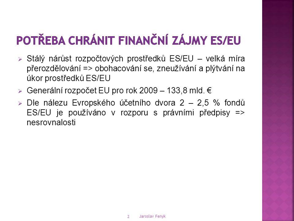 Jaroslav Fenyk 2  Stálý nárůst rozpočtových prostředků ES/EU – velká míra přerozdělování => obohacování se, zneužívání a plýtvání na úkor prostředků ES/EU  Generální rozpočet EU pro rok 2009 – 133,8 mld.