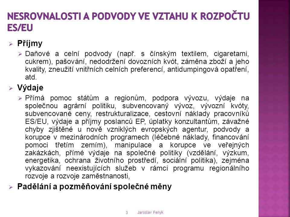 Jaroslav Fenyk 3  Příjmy  Daňové a celní podvody (např.