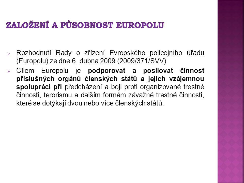  Rozhodnutí Rady o zřízení Evropského policejního úřadu (Europolu) ze dne 6. dubna 2009 (2009/371/SVV)  Cílem Europolu je podporovat a posilovat čin