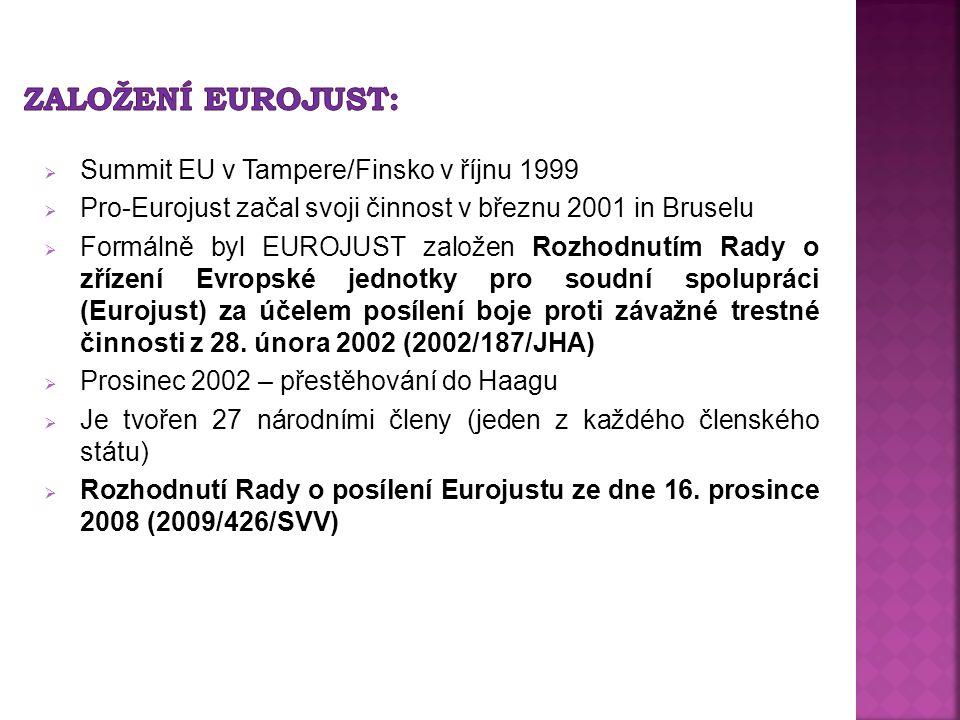  Summit EU v Tampere/Finsko v říjnu 1999  Pro-Eurojust začal svoji činnost v březnu 2001 in Bruselu  Formálně byl EUROJUST založen Rozhodnutím Rady o zřízení Evropské jednotky pro soudní spolupráci (Eurojust) za účelem posílení boje proti závažné trestné činnosti z 28.