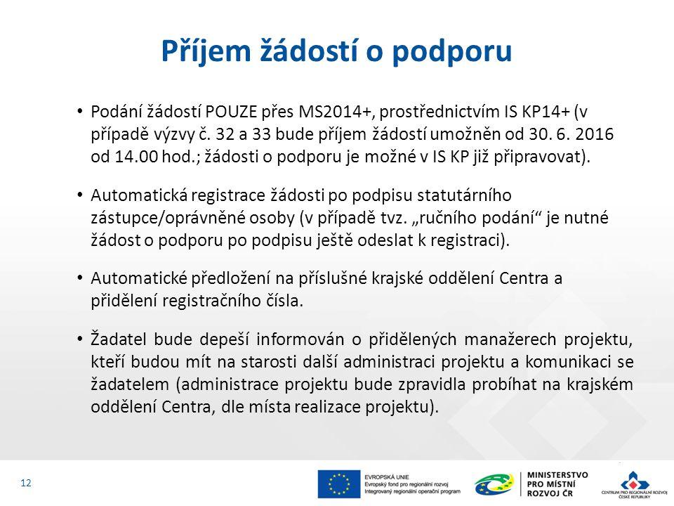 Podání žádostí POUZE přes MS2014+, prostřednictvím IS KP14+ (v případě výzvy č. 32 a 33 bude příjem žádostí umožněn od 30. 6. 2016 od 14.00 hod.; žádo