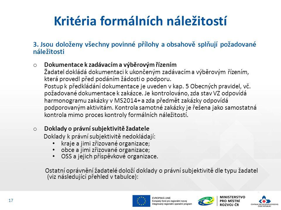 3. Jsou doloženy všechny povinné přílohy a obsahově splňují požadované náležitosti o Dokumentace k zadávacím a výběrovým řízením Žadatel dokládá dokum