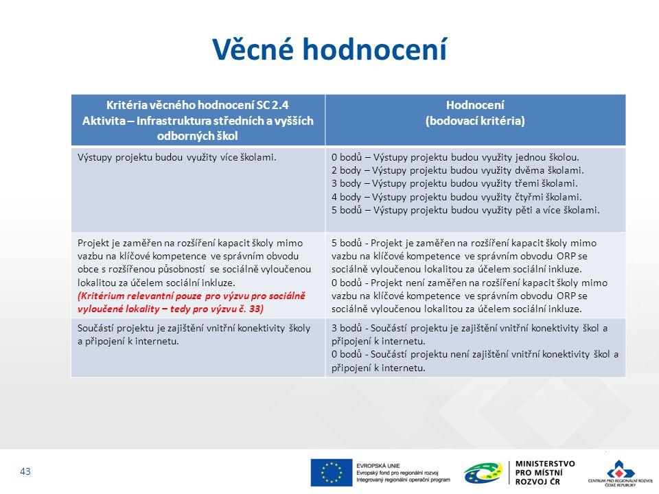 Věcné hodnocení 43 Kritéria věcného hodnocení SC 2.4 Aktivita – Infrastruktura středních a vyšších odborných škol Hodnocení (bodovací kritéria) Výstup