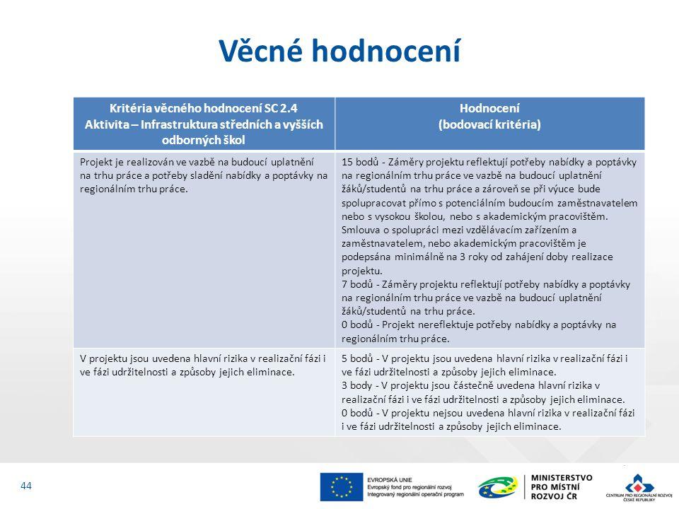 Věcné hodnocení 44 Kritéria věcného hodnocení SC 2.4 Aktivita – Infrastruktura středních a vyšších odborných škol Hodnocení (bodovací kritéria) Projek
