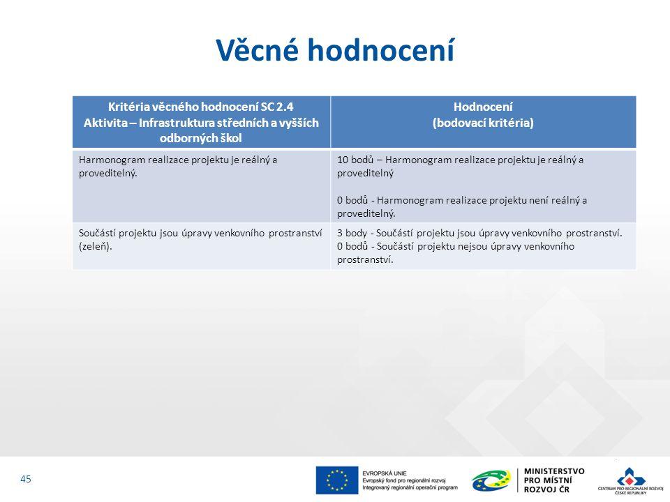 Věcné hodnocení 45 Kritéria věcného hodnocení SC 2.4 Aktivita – Infrastruktura středních a vyšších odborných škol Hodnocení (bodovací kritéria) Harmonogram realizace projektu je reálný a proveditelný.