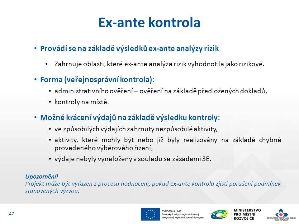 Provádí se na základě výsledků ex-ante analýzy rizik Zahrnuje oblasti, které ex-ante analýza rizik vyhodnotila jako rizikové. Forma (veřejnosprávní ko
