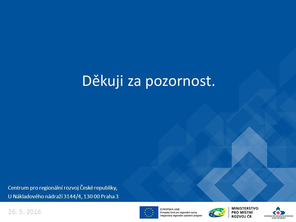 26. 5. 2016 Centrum pro regionální rozvoj České republiky, U Nákladového nádraží 3144/4, 130 00 Praha 3 Děkuji za pozornost.