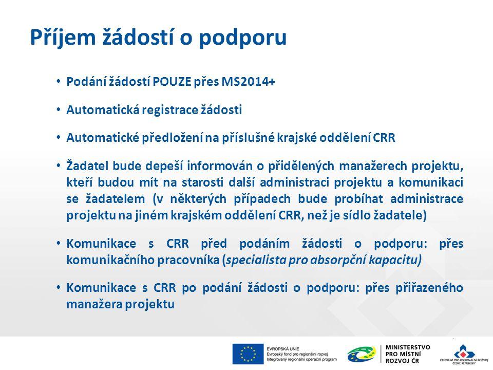 Podání žádostí POUZE přes MS2014+ Automatická registrace žádosti Automatické předložení na příslušné krajské oddělení CRR Žadatel bude depeší informován o přidělených manažerech projektu, kteří budou mít na starosti další administraci projektu a komunikaci se žadatelem (v některých případech bude probíhat administrace projektu na jiném krajském oddělení CRR, než je sídlo žadatele) Komunikace s CRR před podáním žádosti o podporu: přes komunikačního pracovníka (specialista pro absorpční kapacitu) Komunikace s CRR po podání žádosti o podporu: přes přiřazeného manažera projektu Příjem žádostí o podporu
