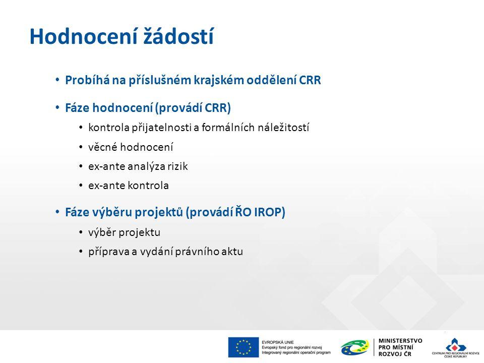 Probíhá na příslušném krajském oddělení CRR Fáze hodnocení (provádí CRR) kontrola přijatelnosti a formálních náležitostí věcné hodnocení ex-ante analýza rizik ex-ante kontrola Fáze výběru projektů (provádí ŘO IROP) výběr projektu příprava a vydání právního aktu Hodnocení žádostí