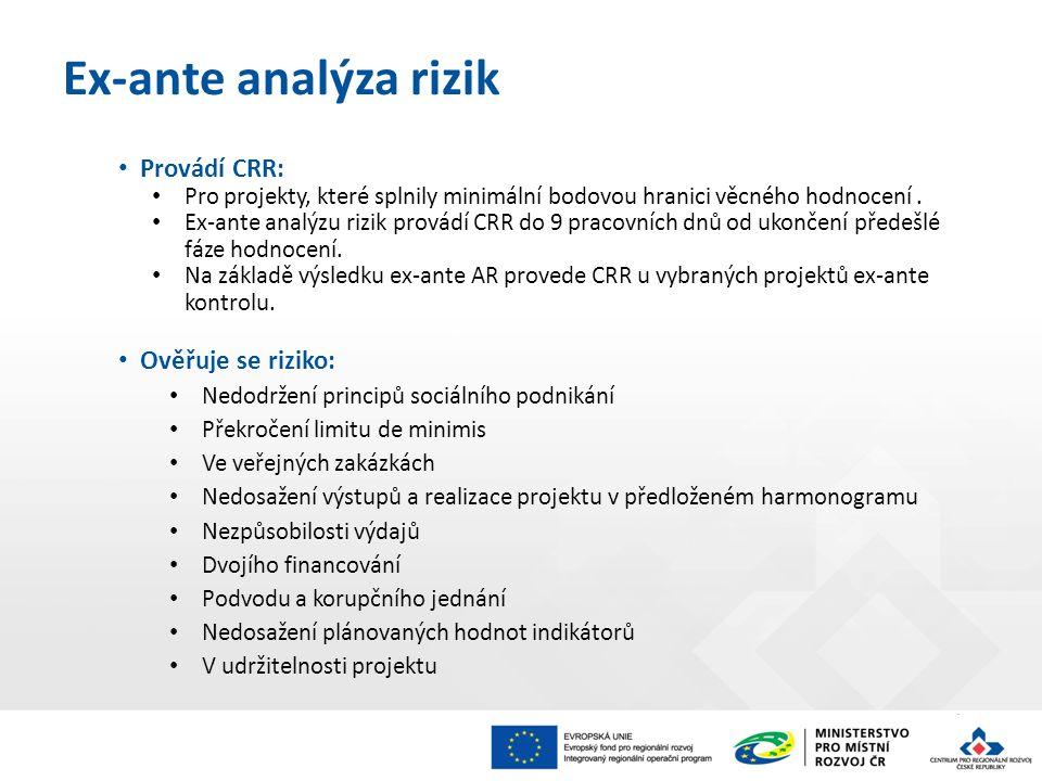 Provádí CRR: Pro projekty, které splnily minimální bodovou hranici věcného hodnocení.