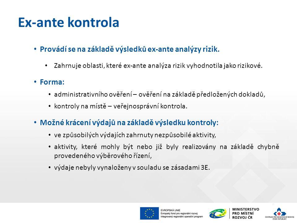 Provádí se na základě výsledků ex-ante analýzy rizik.