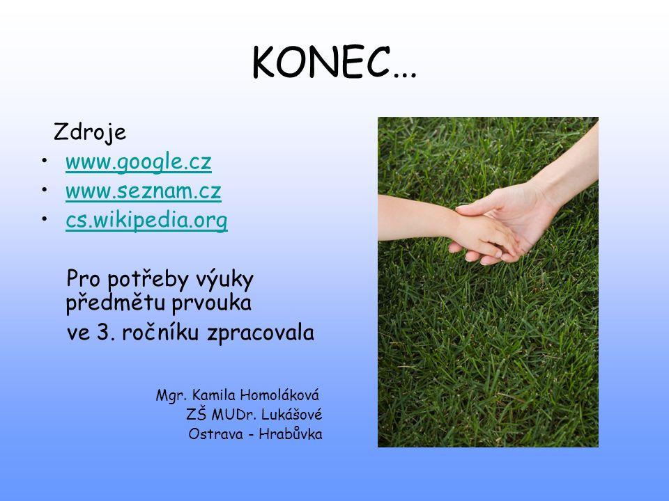 KONEC… Zdroje www.google.cz www.seznam.cz cs.wikipedia.org Pro potřeby výuky předmětu prvouka ve 3. ročníku zpracovala Mgr. Kamila Homoláková ZŠ MUDr.