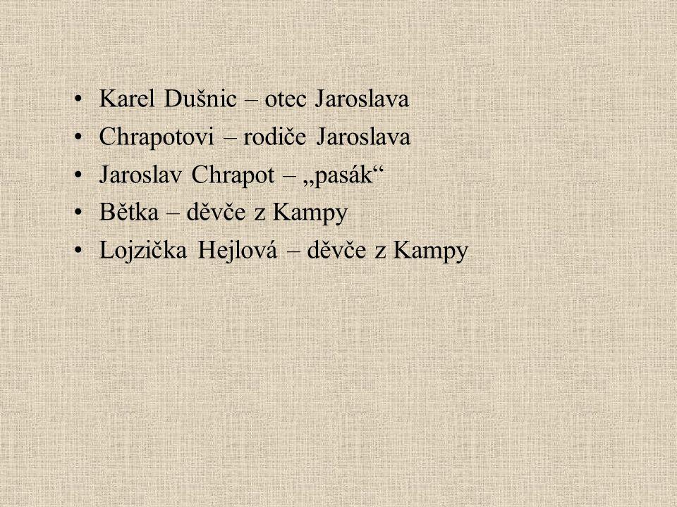 """Karel Dušnic – otec Jaroslava Chrapotovi – rodiče Jaroslava Jaroslav Chrapot – """"pasák Bětka – děvče z Kampy Lojzička Hejlová – děvče z Kampy"""