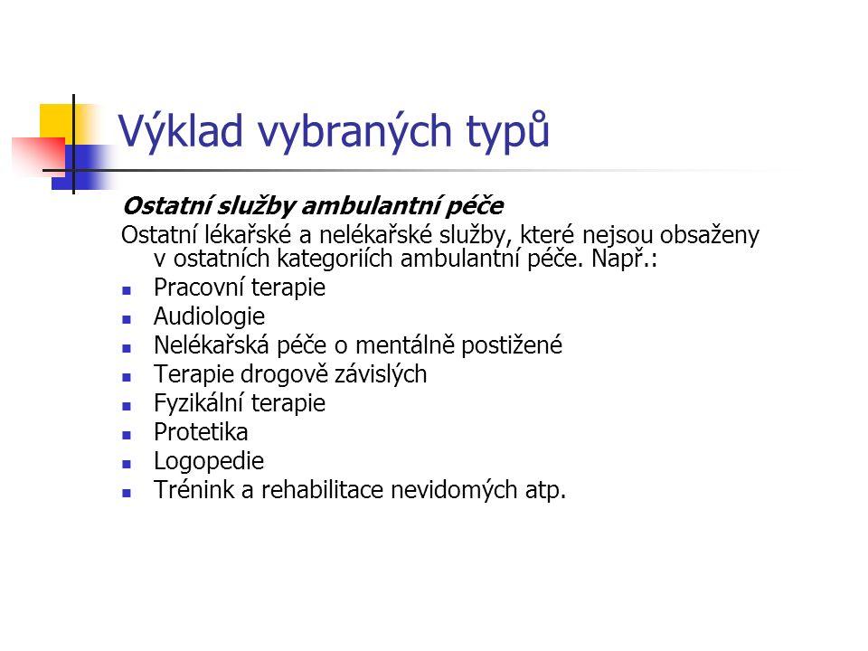 Výklad vybraných typů Ostatní služby ambulantní péče Ostatní lékařské a nelékařské služby, které nejsou obsaženy v ostatních kategoriích ambulantní péče.