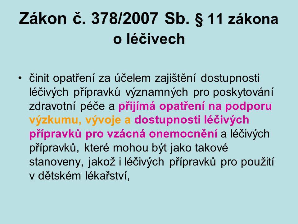 Zákon č. 378/2007 Sb. § 11 zákona o léčivech činit opatření za účelem zajištění dostupnosti léčivých přípravků významných pro poskytování zdravotní pé