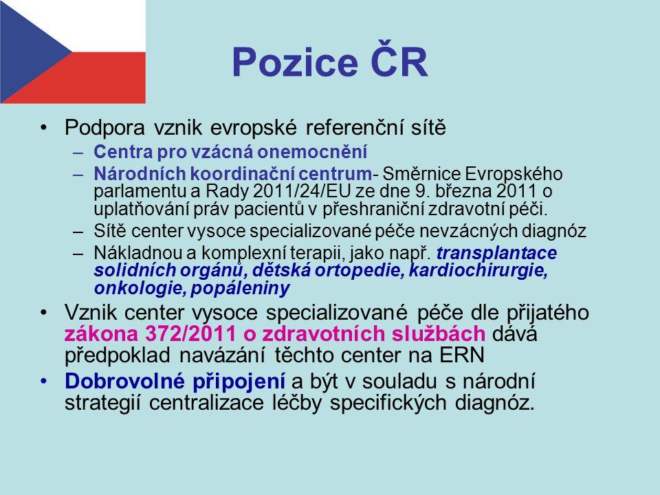 Pozice ČR Podpora vznik evropské referenční sítě –Centra pro vzácná onemocnění –Národních koordinační centrum- Směrnice Evropského parlamentu a Rady 2011/24/EU ze dne 9.