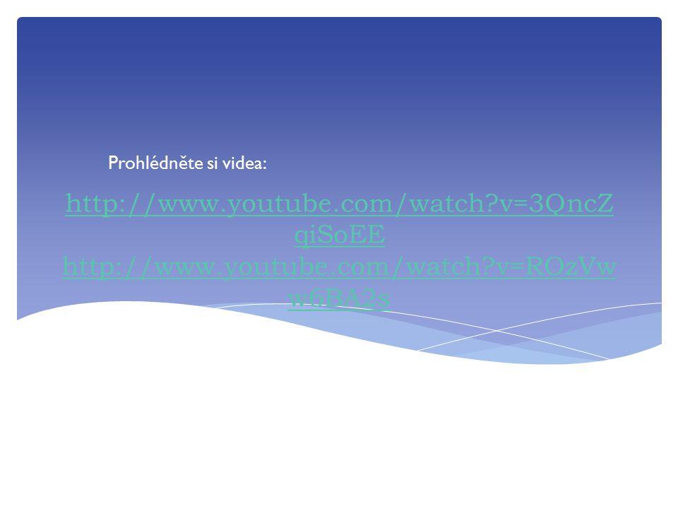http://www.youtube.com/watch?v=3QncZ qiSoEE http://www.youtube.com/watch?v=ROzVw w6BA2s Prohlédněte si videa: