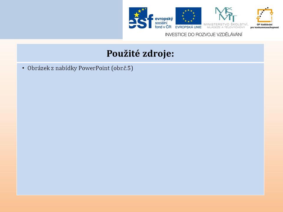Použité zdroje: Obrázek z nabídky PowerPoint (obr.č.5)