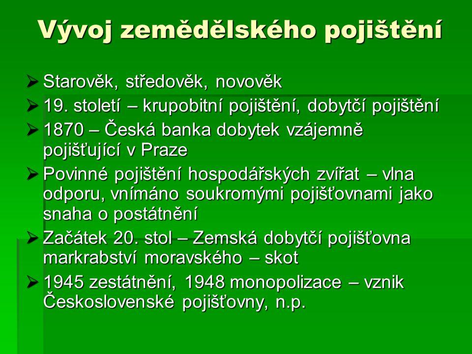 Vývoj zemědělského pojištění  Starověk, středověk, novověk  19.