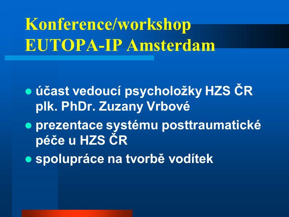 Konference/workshop EUTOPA-IP Amsterdam účast vedoucí psycholožky HZS ČR plk.
