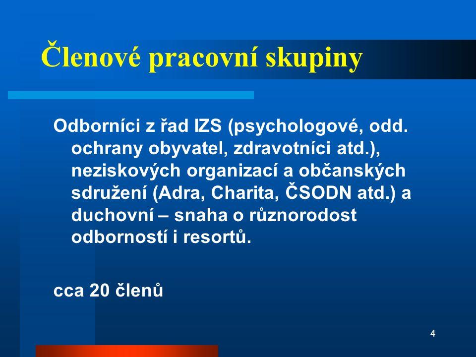 Cíle Tvorba standardů psychosociální pomoci a spolupráce osobám zasaženým mimořádnou událostí v ČR.