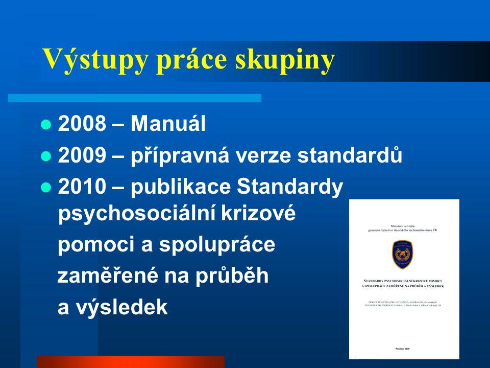 Výstupy práce skupiny 2008 – Manuál 2009 – přípravná verze standardů 2010 – publikace Standardy psychosociální krizové pomoci a spolupráce zaměřené na průběh a výsledek