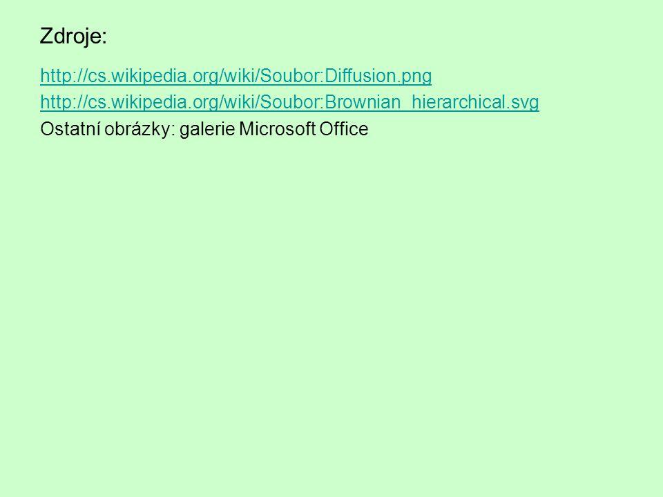 Zdroje: http://cs.wikipedia.org/wiki/Soubor:Diffusion.png http://cs.wikipedia.org/wiki/Soubor:Brownian_hierarchical.svg Ostatní obrázky: galerie Microsoft Office