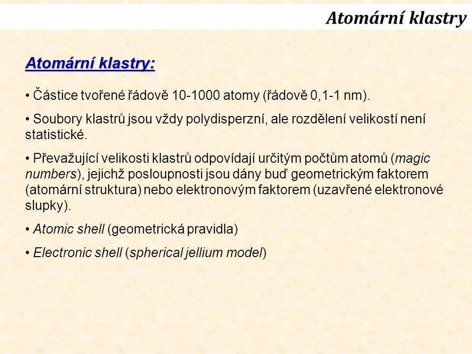 Atomární klastry Atomární klastry: Částice tvořené řádově 10-1000 atomy (řádově 0,1-1 nm).