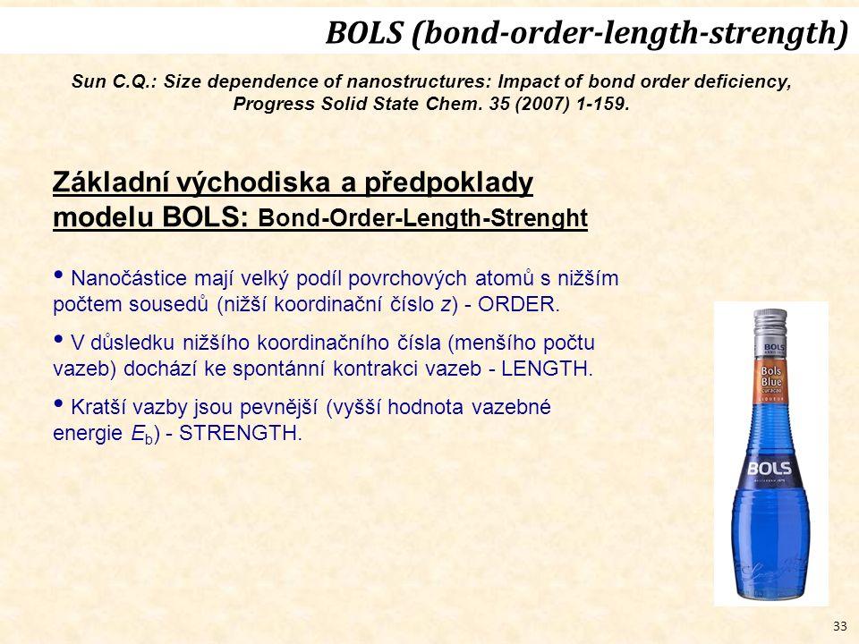 33 Základní východiska a předpoklady modelu BOLS: Bond-Order-Length-Strenght Nanočástice mají velký podíl povrchových atomů s nižším počtem sousedů (nižší koordinační číslo z) - ORDER.